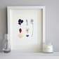 Pressed flower art, pressed flowers picture, small wall art, flower picture
