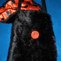Black Faux Fur Super Soft Fun Shoulder Strap Bags With Lovely Linings