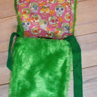 Bright Green Faux Fur One Of A Kind Shoulder Strap Bag With Sugar Skull Lining