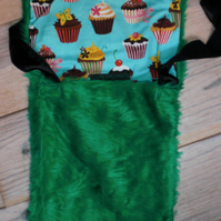 Dark Green, Soft Faux Fur One Of  A Kind Shoulder Bag With Cute Cupcake Lining