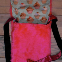 Hot Pink Faux Fur One Of A Kind handbag with Cute Cup Cake lining. Yum!