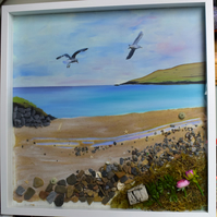 Shetland Islands, beach painting, mixed media, framed picture of  sea gulls
