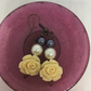 Pearls and flowers. Dangle Earrings.