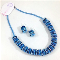Blue Felt Necklace and Earrings Set