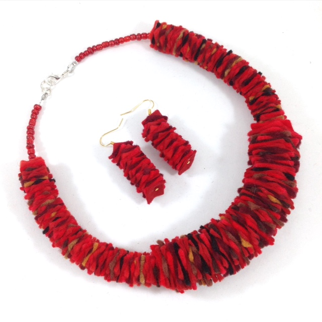 Chilli Felt Necklace and Earrings set