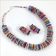 Multi Colour Felt Necklace & Earrings