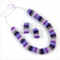 Purple Shades Felt Necklace