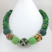 Felt Necklace in Shades of Green