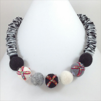 Felt Necklace In Black and White