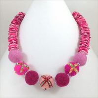 Pink Felt Necklace