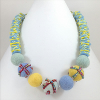Pale Springtime Felt Necklace