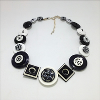 Black and White Fancy Button Necklace