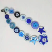 Blue Fancy Button Necklace