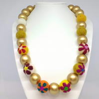 Flowered Felt Beads with Gold Wood Beads Necklace