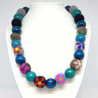Flowered Felt Beads with Teal Wood Beads Necklace