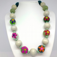 Green Flowered Felt Beads with Grey Wood Beads Necklace