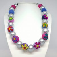 Flowered Felt Beads with Silver Wood Beads Necklace
