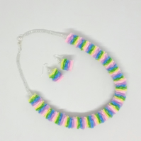 Pastel Rainbow Felt Necklace & Earrings