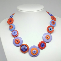 Light Blue and Coral Fancy Button Necklace
