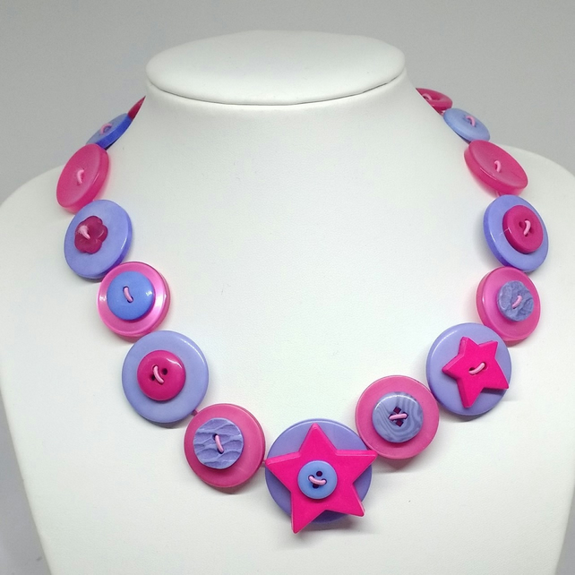 Hot Pink and Light Blue Fancy Button Necklace