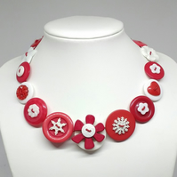 Red and White Fancy Button Necklace