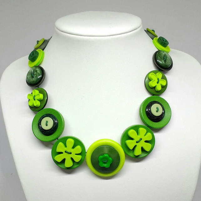 Green Fancy Button Necklace