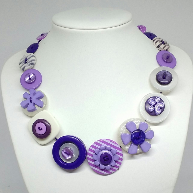 Purple and White Fancy Button Necklace