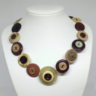 Brown and Tan Fancy Button Necklace