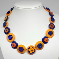 Coral and Navy Blue Fancy Button Necklace