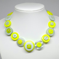 Lemon and Aqua Fancy Button Necklace