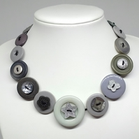 Grey and Glitter Fancy Button Necklace