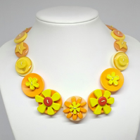 Orange and Lemon Fancy Button Necklace