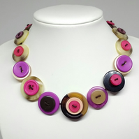 Yummy Brown and Pink Fancy Button Necklace