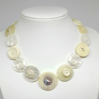 Cream and Mother of Pearl Fancy Button Necklace