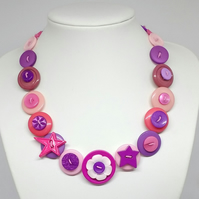 In the Pink Fancy Button Necklace