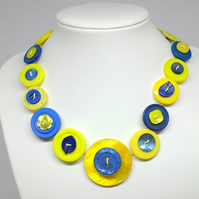 Yellow and Blue Button Necklace