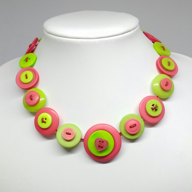 Tropical Lime and Watermelon Fancy Button Necklace