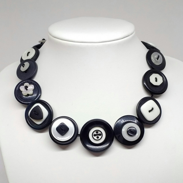 Monochrome Fancy Button Necklace