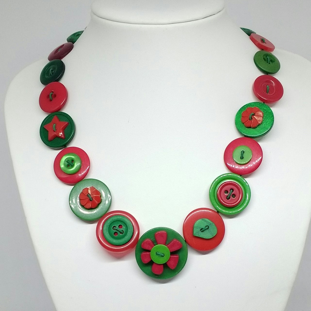 Red and Green Button Necklace
