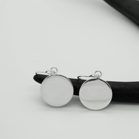 Silver Circle Moon Drop Earrings - Artemis Full Moon Collection - Dangly