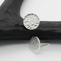 Hammered Silver Circle Moon Studs - Artemis Collection - Medium Size Earrings