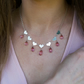 Pink topaz and Heart Statement Necklace