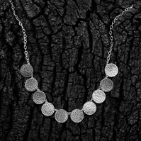 Silver hammered circle moons necklace - elegant occasion statement necklace