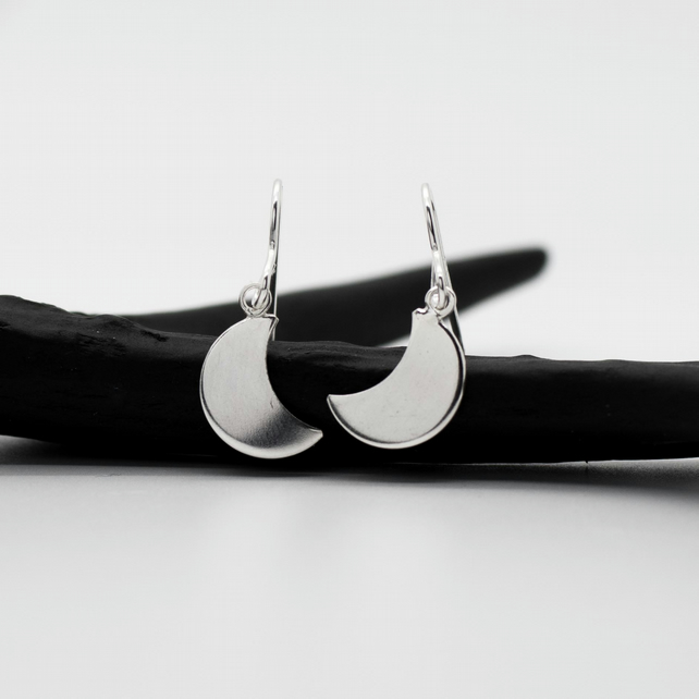 Large Sterling Silver Crescent Moon Dangle Drop Earrings - Diana Collection