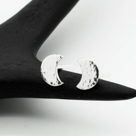 Small Hammered Sterling Silver Crescent Moon Studs - Diana Collection Earrings