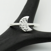 Hammered Sterling Silver Crescent Moon Ring - Diana Collection