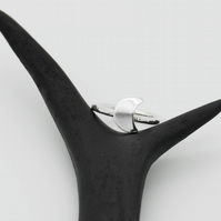 Sterling Silver Crescent Moon Ring - Diana Collection