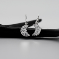 Large Hammered Sterling Silver Crescent Moon Earrings - Diana Collection