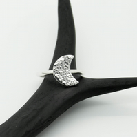 Hammered Sterling Silver Crescent Moon Statement Ring - Diana Collection