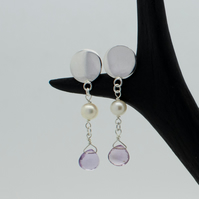 Pearl and Amethyst Sterling Silver Circle Earrings